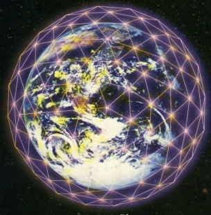 planet earth surreounding by grid of light