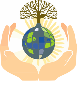 Lightworkers hands holding earth with tree