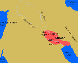 Mesopotamia map showing ancient Sumer